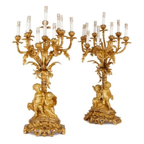 Pair of large Rococo style ormolu candelabra by Picard