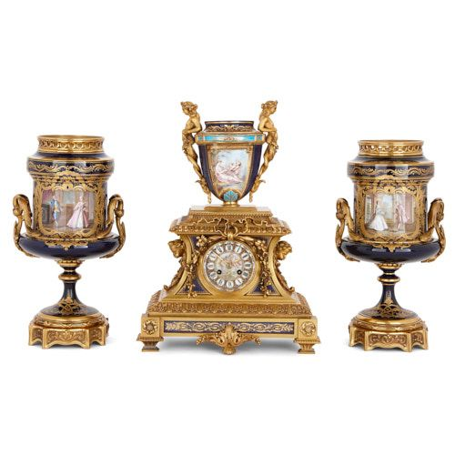 Sèvres style porcelain and ormolu matched clock set