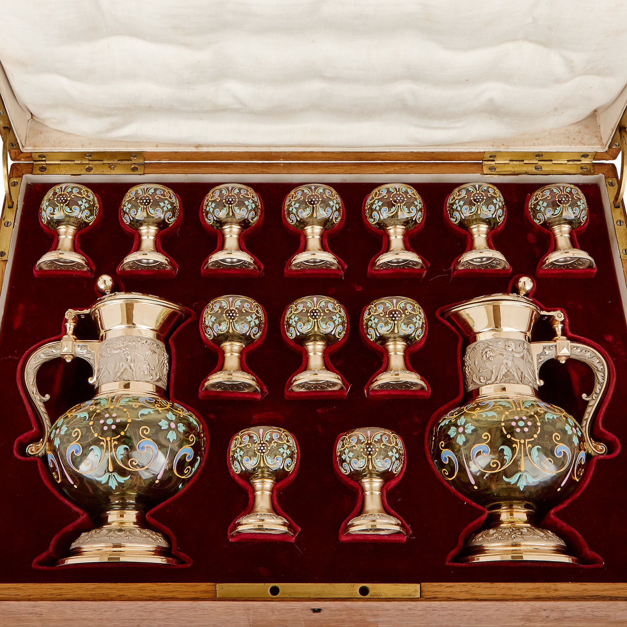 Antique silver mounted enamelled glass vodka drinking set ...