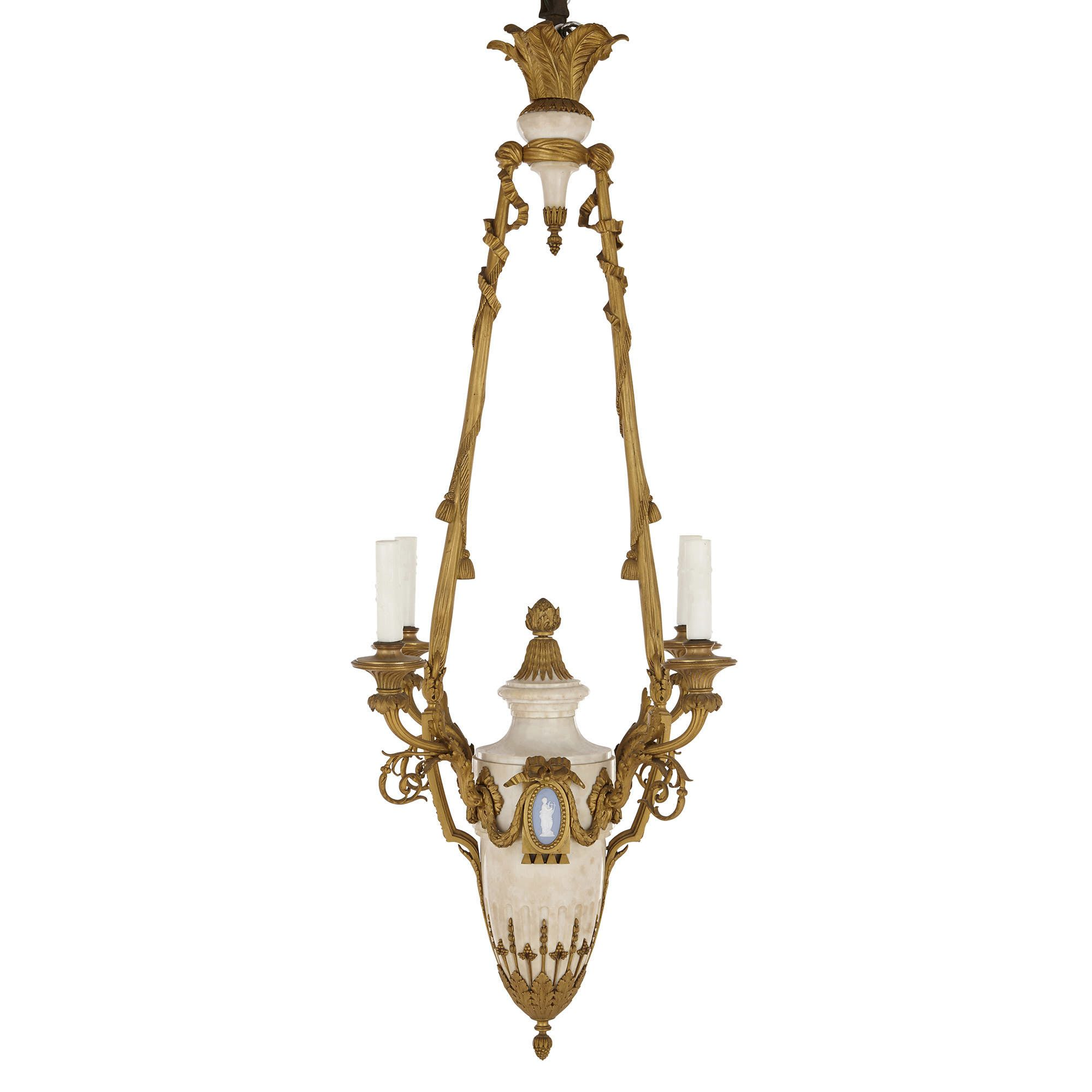 san francisco 6a348 bf8b1 Antique marble, ormolu and jasperware four-light chandelier