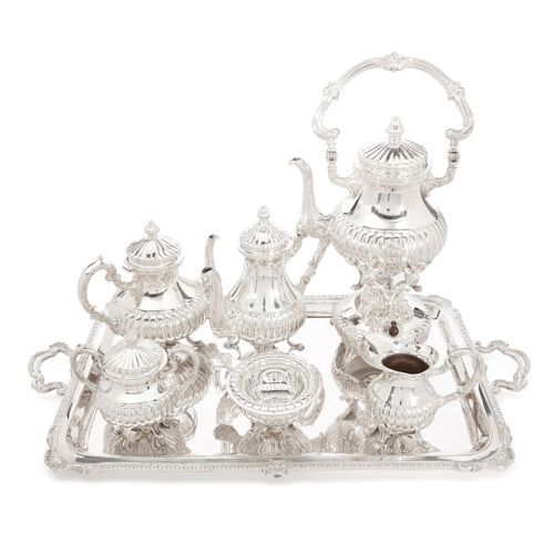 Large Peruvian silver tea and coffee set by Camusso