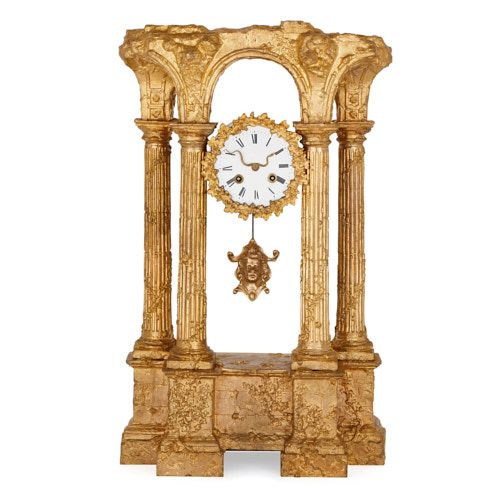 Antique Roman ruin shaped ormolu mantel clock