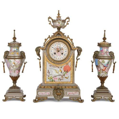 Antique porcelain, silvered and parcel gilt brass clock set