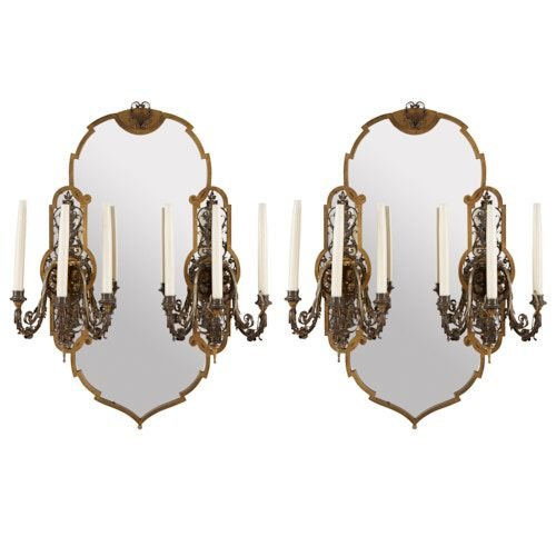 Pair of antique parcel gilt and silvered metal girandoles