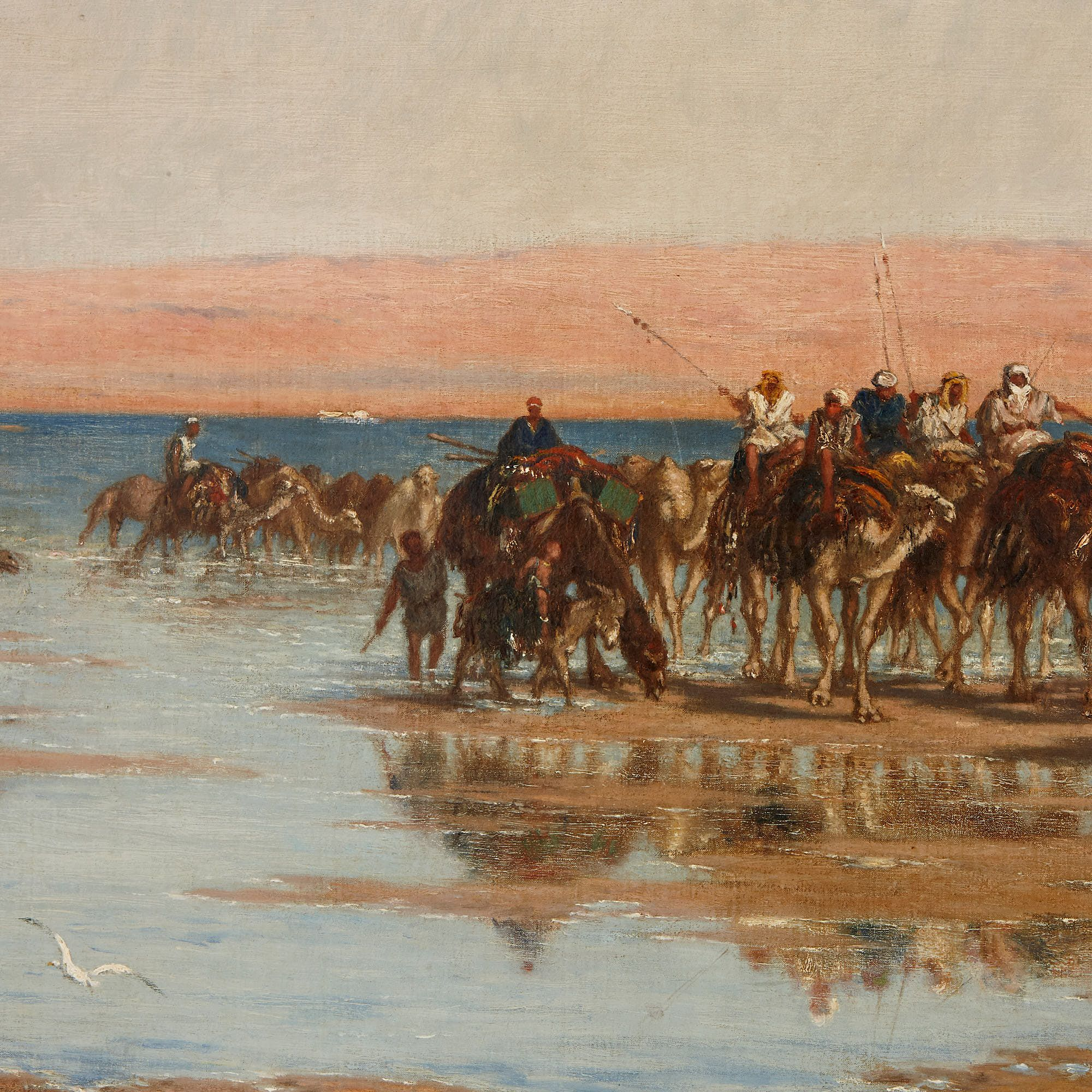 Crossing The Desert Large Orientalist Painting By