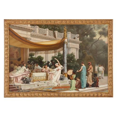 'A Summer Repast', large Roman classical painting by Boulanger