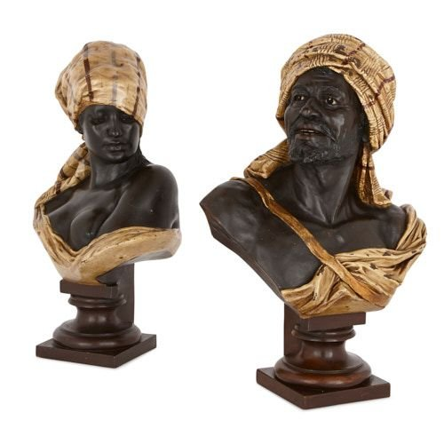 Pair of Orientalist terracotta busts by Thiele