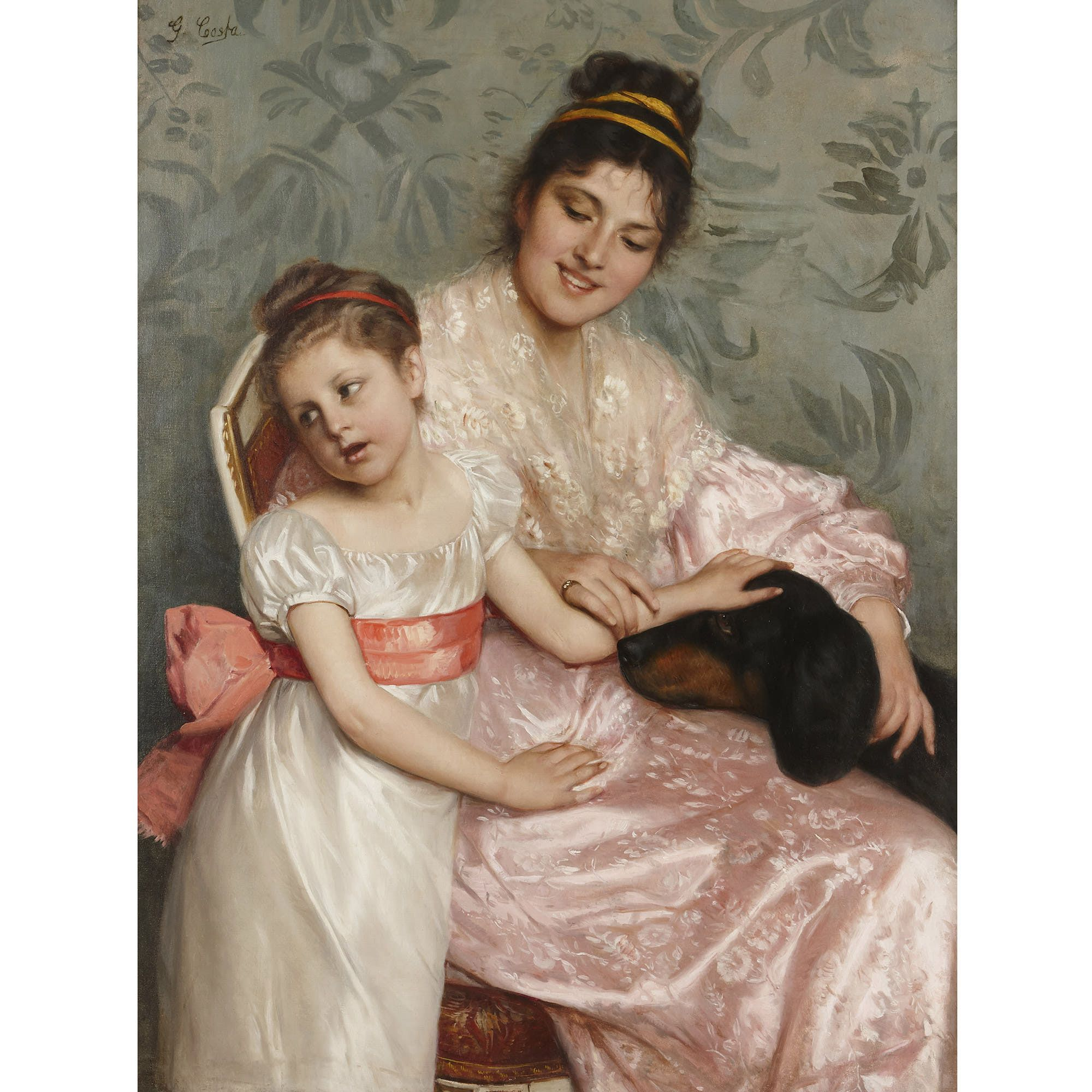 Large Italian Oil Painting Of Mother And Child By Costa