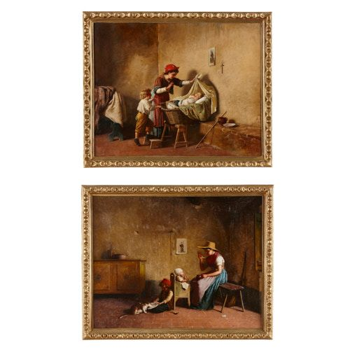 Pair of Italian oil on canvas paintings by Chierici