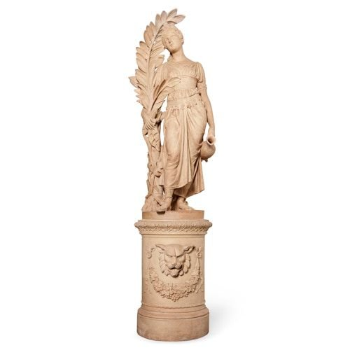 Large terracotta figure of Hebe on plinth by Kuhse