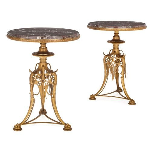 Pair of antique ormolu and marble guéridons by Barbedienne