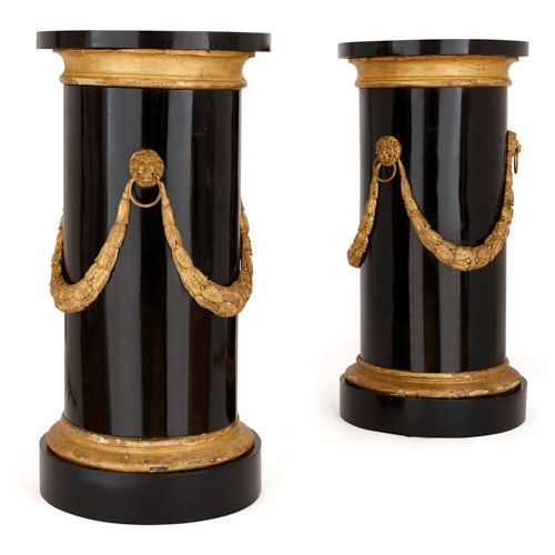 Pair of marble, gilt and ebonised wood pedestals