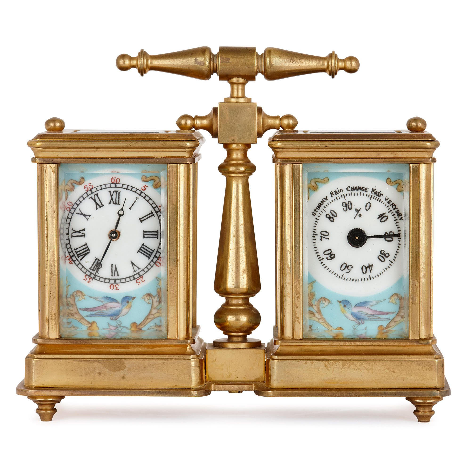 Br And Porcelain Carriage Clock
