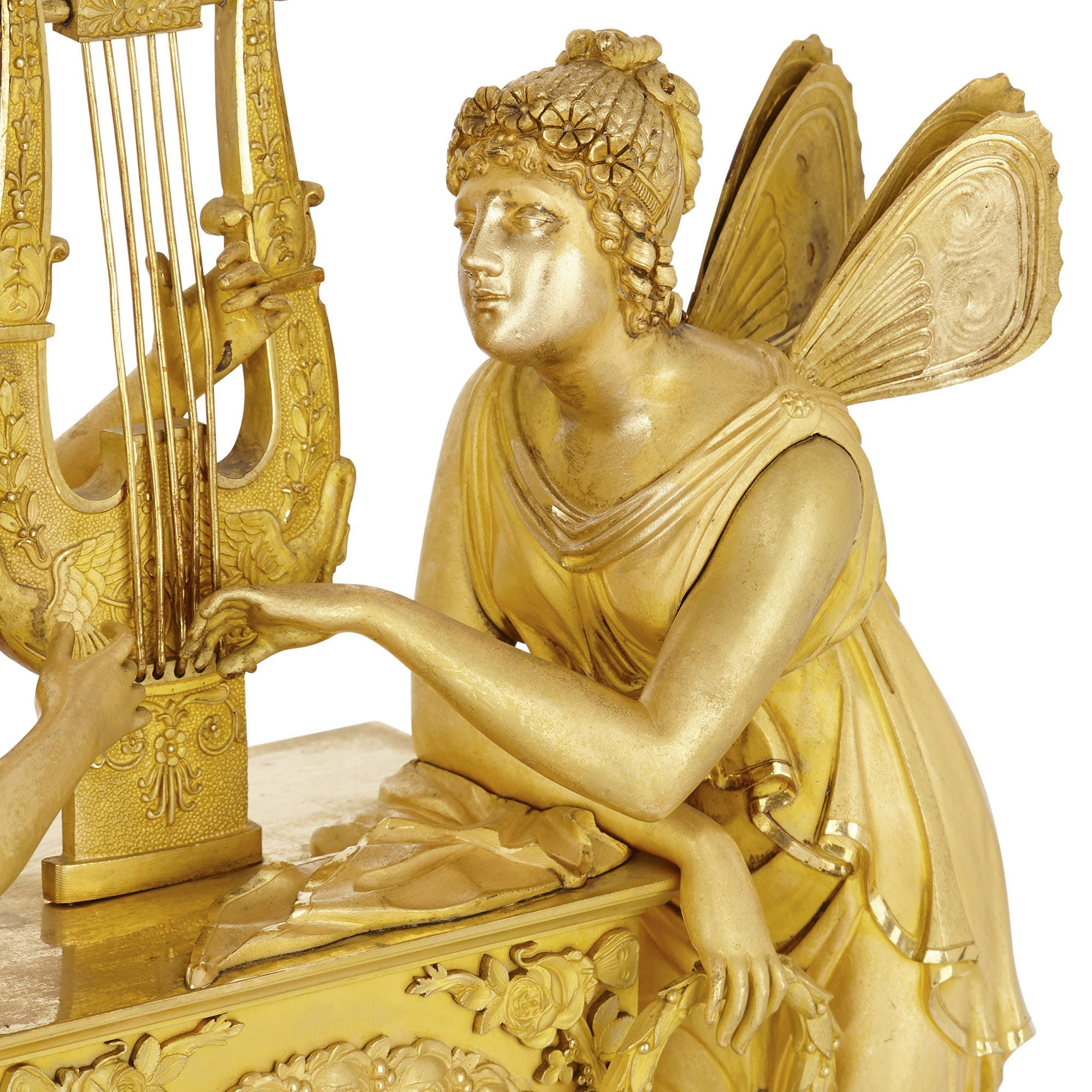 French Empire Period Ormolu Mantel Clock By Le Roy Et Fils