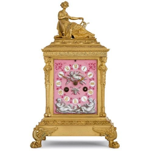 Antique French ormolu and porcelain table clock