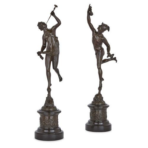 Pair of marble and patinated bronze figures after Giambologna