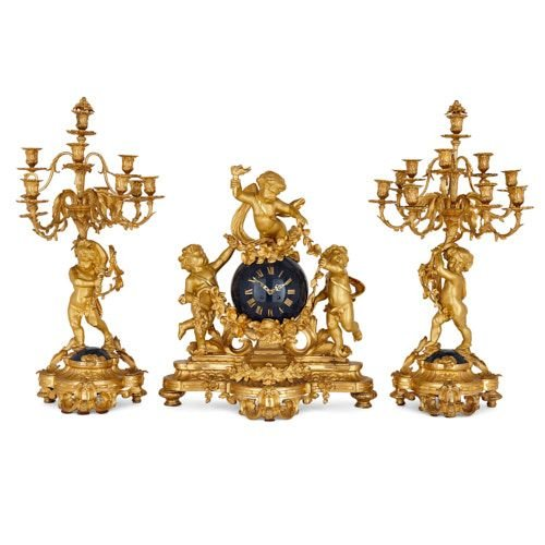 Large ormolu three-piece clock set by Popon
