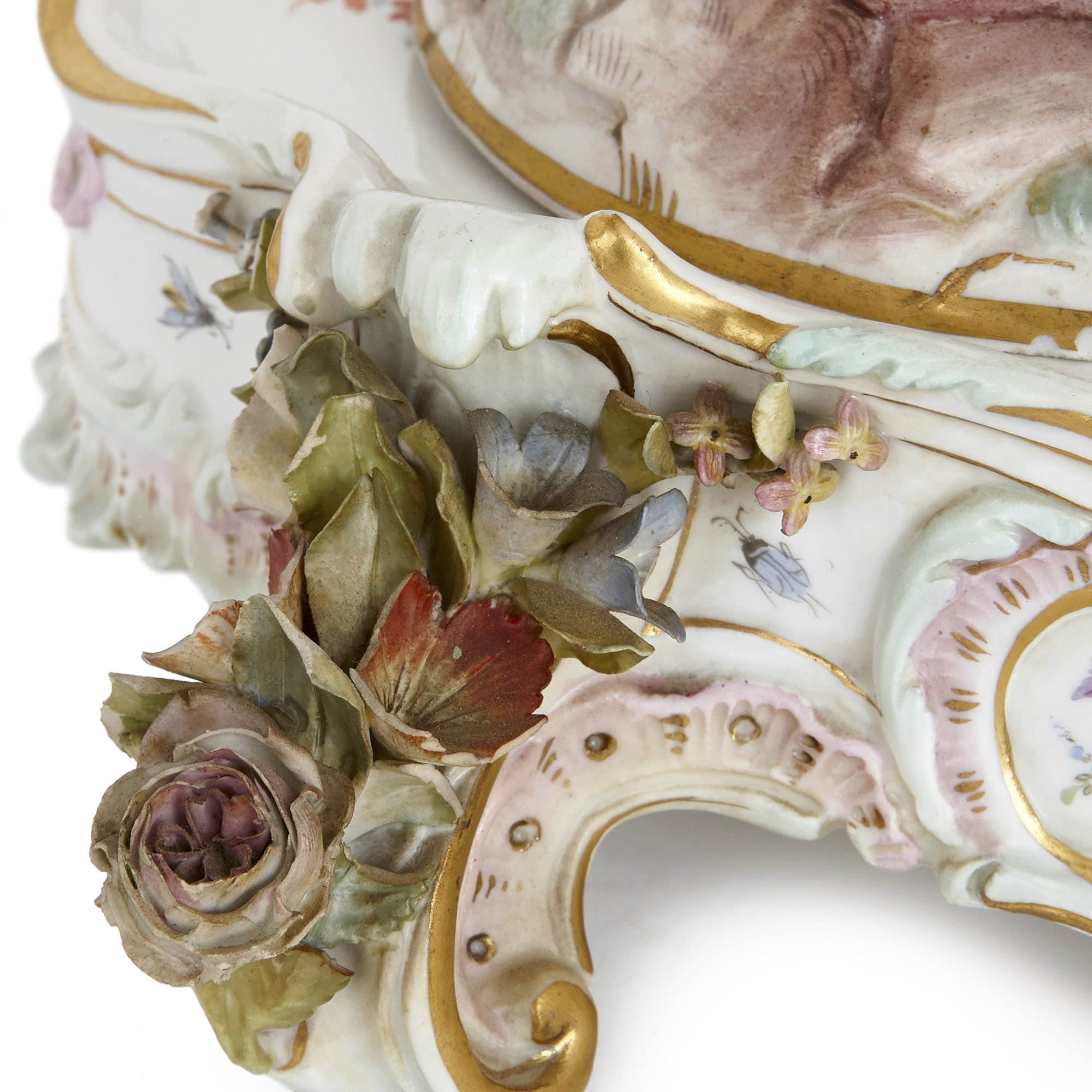 Antique Meissen Porcelain Centrepiece With Stand Mayfair