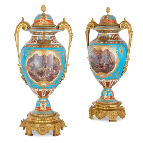 Pair of porcelain and ormolu vases with hunting scenes