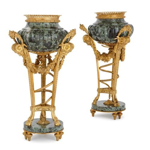 Pair of ormolu mounted marble vases after Gouthière