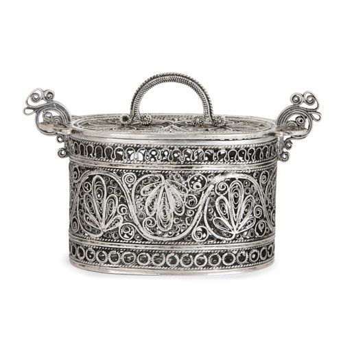 Antique Jewish silver besamim spice box
