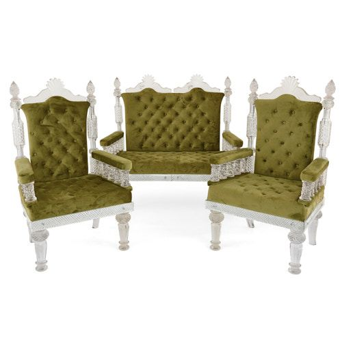 Glass and velvet furniture suite in the style of Osler