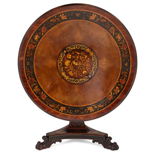 English Victorian period circular marquetry breakfast table