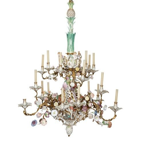 K.P.M. porcelain and ormolu Rococo style chandelier