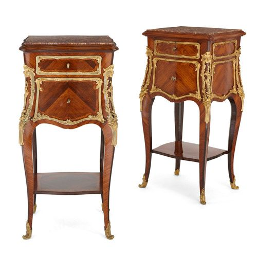 Pair of ormolu mounted kingwood and marble side cabinets