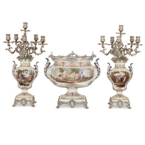 Sèvres style porcelain and silver garniture by Tétard Frères