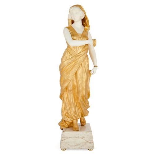 Ormolu and marble sculpture of a young woman by Gory