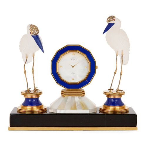 Lapis lazuli and rock crystal table clock by Royale Geneve