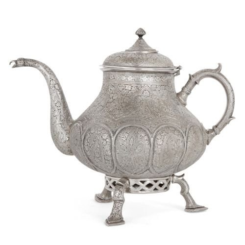 Antique Indian miniature silver samovar teapot