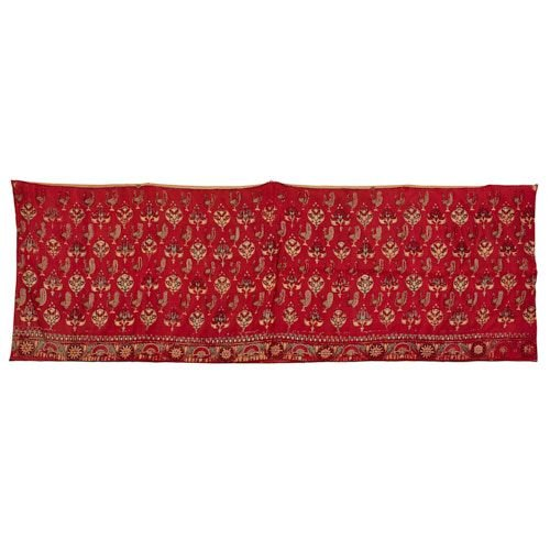 Indian silk embroidered crimson satin skirt band