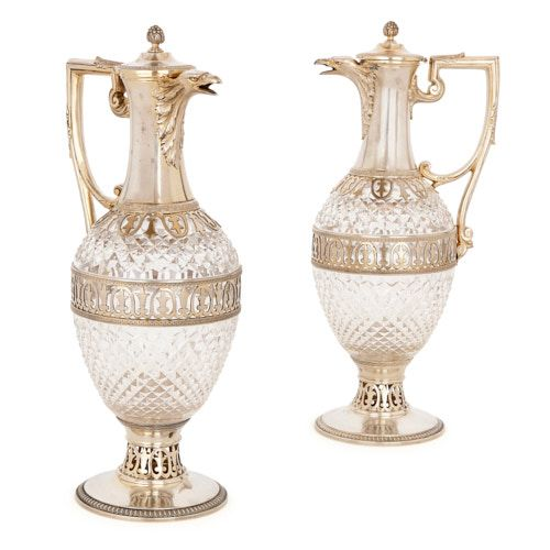 Pair of silver and cut glass claret jugs by Tétard Frères