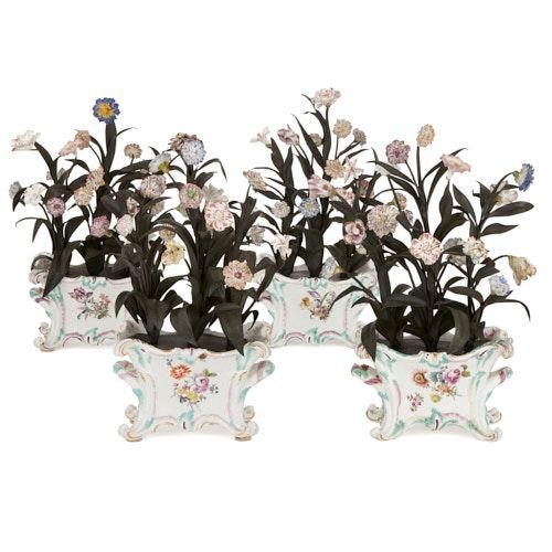 Set of four Meissen style porcelain and metal flower models