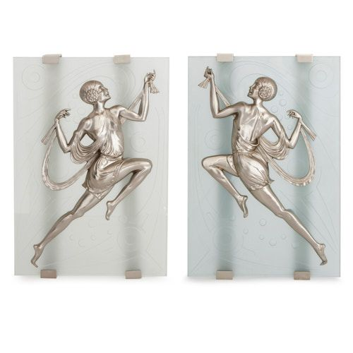 Pair of Art Deco style silvered bronze and glass wall appliques