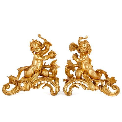 Pair of antique Louis XV style ormolu chenets