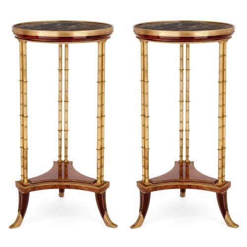 Pair of Louis XVI style ormolu, mahogany and marble guéridons