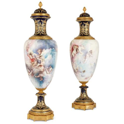Pair of large ormolu mounted Sèvres style porcelain vases