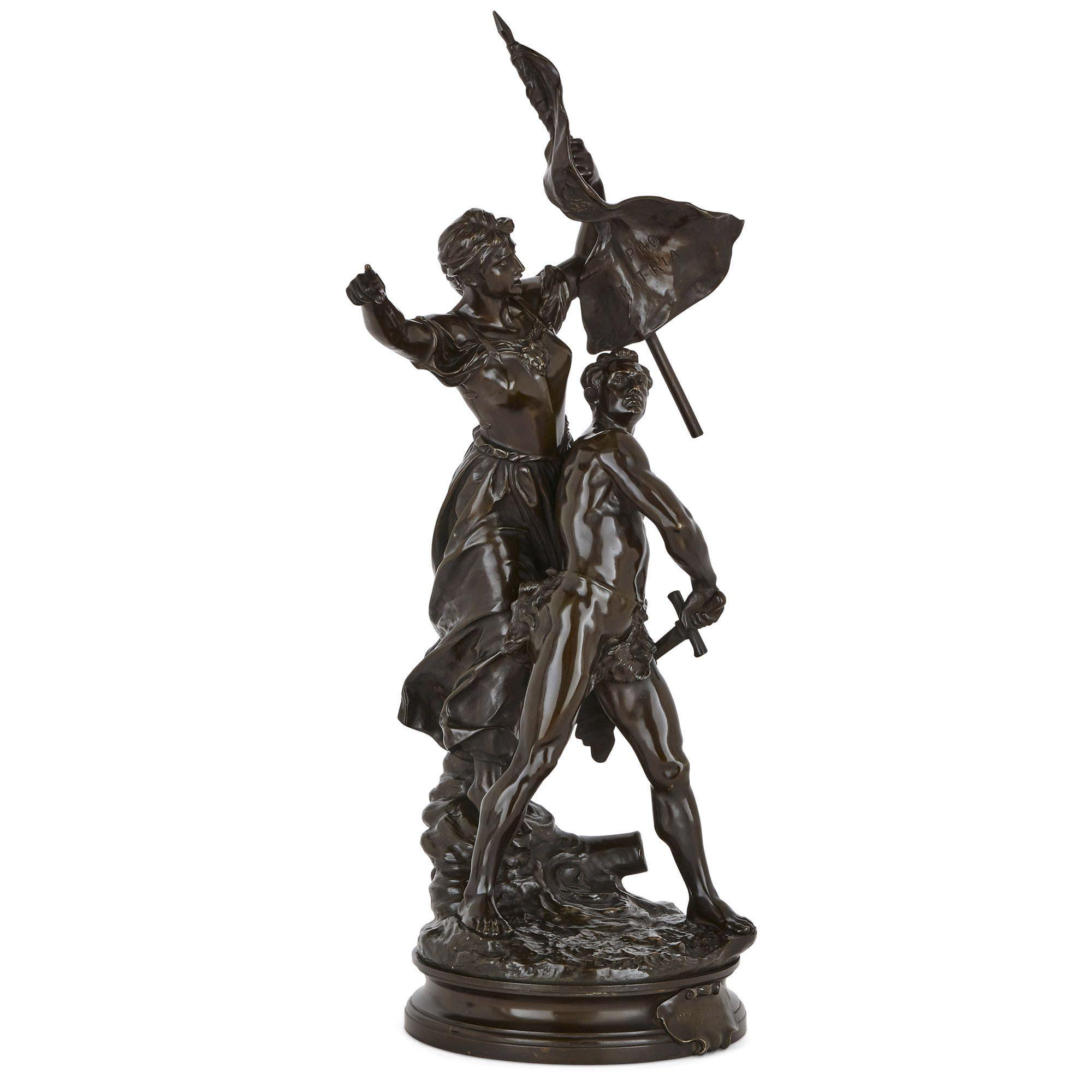 Antique Patinated Bronze Sculpture by Adrien Etienne Gaudez