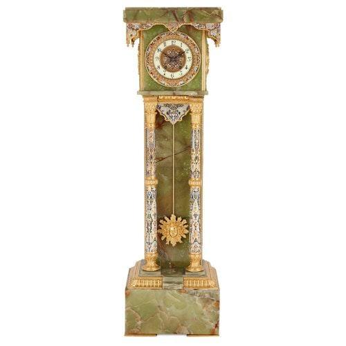 Green onyx, ormolu, and champlevé enamel pedestal clock