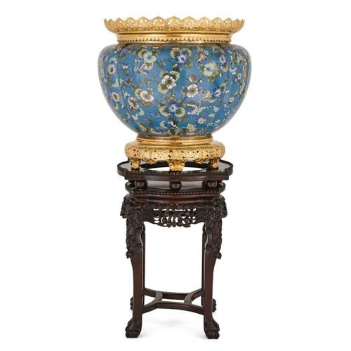 Ormolu mounted Chinese cloisonné enamel jardinière on stand