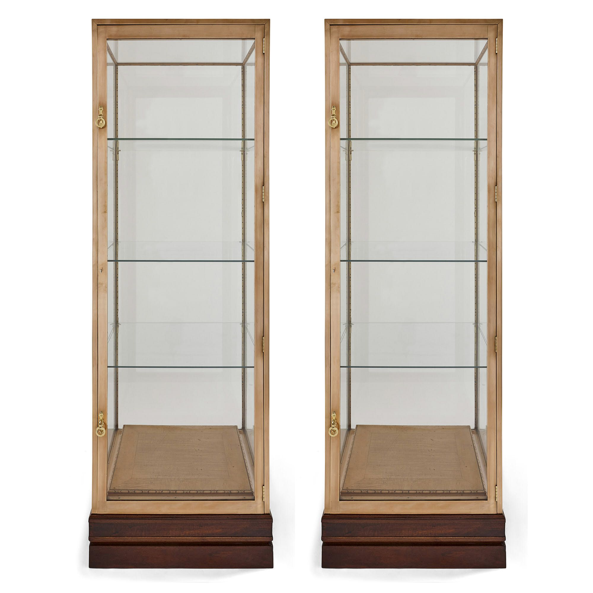 Pair Of French Art Deco Brass And Wood Display Cabinets