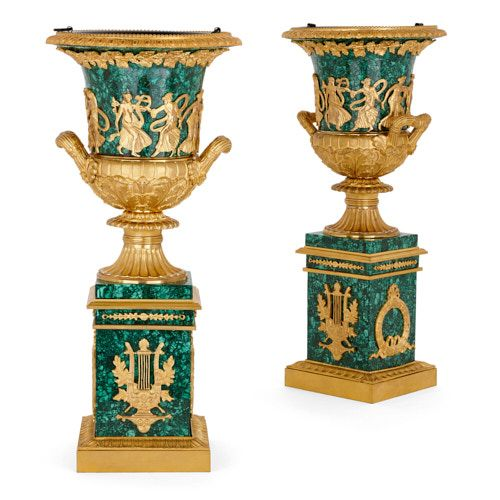 Pair of Empire style ormolu and malachite vases