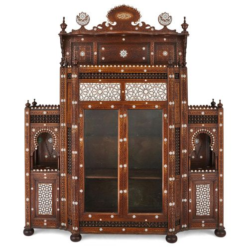 Large antique Syrian mother of pearl inlaid vitrine cabinet
