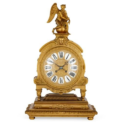 Large French ormolu mantel clock attributed to Henri Picard