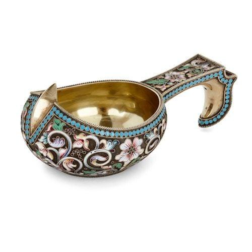 Russian silver-gilt and cloisonné enamel kovsch vessel
