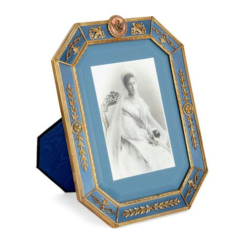 Fabergé style gold, gemstone, and enamel picture frame