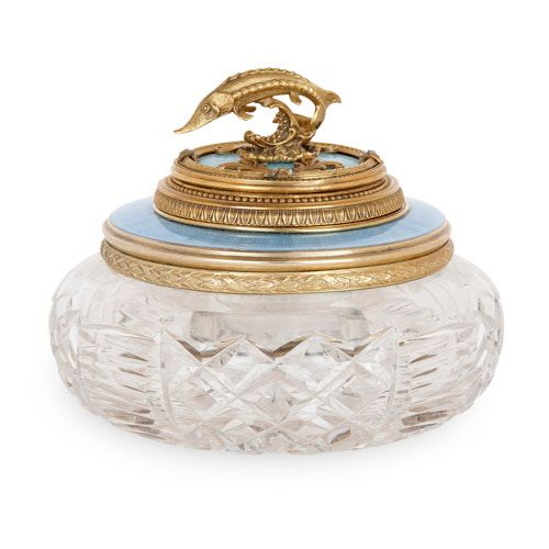 Fabergé style silver-gilt, enamel, and glass caviar server